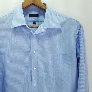 Joseph Abboud Men's 18 34/35 Blue Striped Shirt